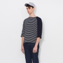 16SS_C_ REVERSED STRIPE T-SHIRT (navy)