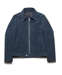 업스케일(UPSCALE) CALFSKIN SUEDE SINGLE LEATHER JACKET-NAVY