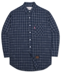 언더에어(UNDERAIR) Oversize Tile Check Shirts - Navy
