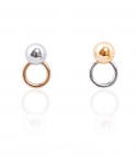마이믹스드디자인(MY MIXED DESIGN) Metal moon and rings earrings
