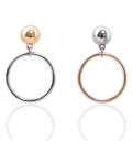 마이믹스드디자인(MY MIXED DESIGN) Bold metal moon & rings earrings