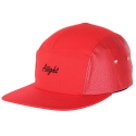 [Aiiight] Leather Mix Logo Camp Cap Crimson