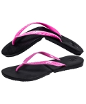 Salvatos Foldable Flip Flop Black / Neon Pink