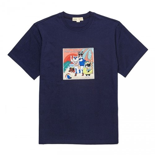 비욘드클로젯_MIAMI SUNSET DOG 1/2 TS [RECORD LINE] NAVY