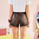 VVV RAINBOW HEART BLACK DENIM SHORTS