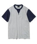 유니폼브릿지(UNIFORM BRIDGE) two tone crew neck tee grey/navy