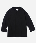 3/4 HENLEY NECK T-SHIRT BLACK