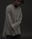 TOME.2 SIDE TAPING PIGMENT GRAY L/S TEE