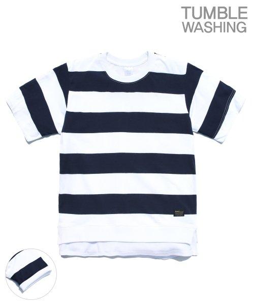 제멋_[제멋]Layered stripe short tee navy(2028)