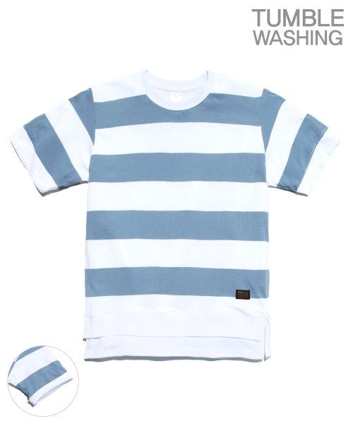 제멋_[제멋]Layered stripe short tee blue(2028)