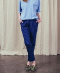 러닝하이(RUNNING HIGH) [UNISEX] DENIM STRIPE BANDING TROUSERS [INDIGO]