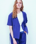 러닝하이(RUNNING HIGH) [UNISEX] LINEN CROP UKATA GOWN [VIOLET BLUE]