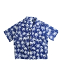 러닝하이(RUNNING HIGH) [UNISEX] COTTON CROP ALOHA SHIRTS [NAVY]