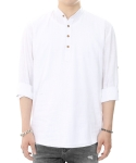 쟈니웨스트(jhonnywest) Pull Over Linen Shirt (White)