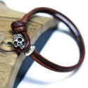 포프(POFF) KNOTED LEATHER SKULL BRACELET_SILVER