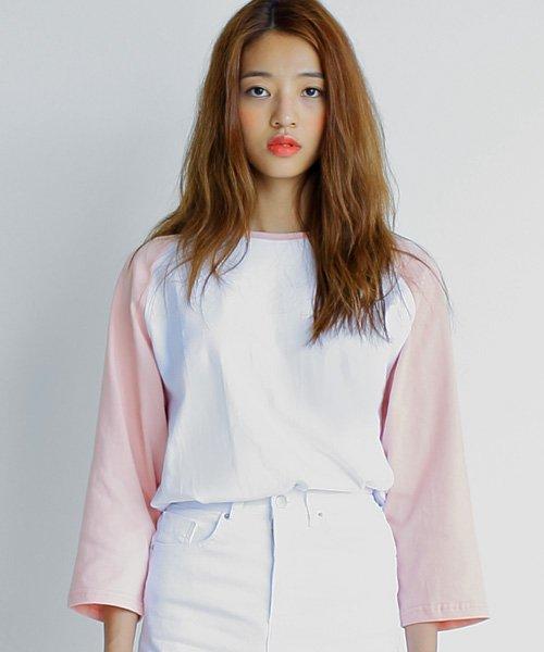 어커버_7부 Raglan T-shirts Pink