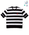 어썸 이미지네이션(AWESOME IMAGINATION) STRIPE LETTERING BORDER T-SHIRT Black
