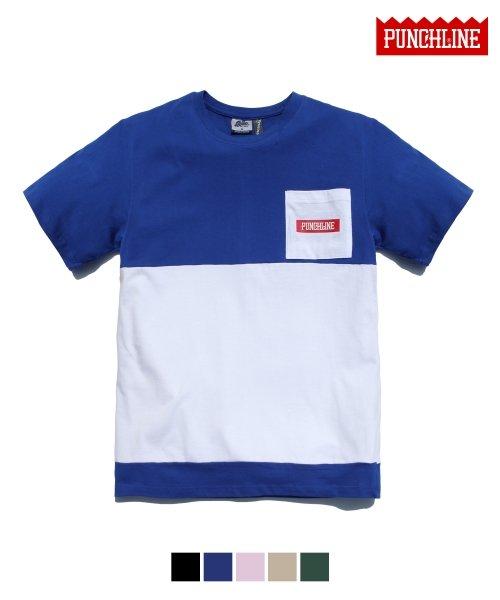 펀치라인_[펀치라인] 센터절개 포켓반팔 파랑 KHST6006