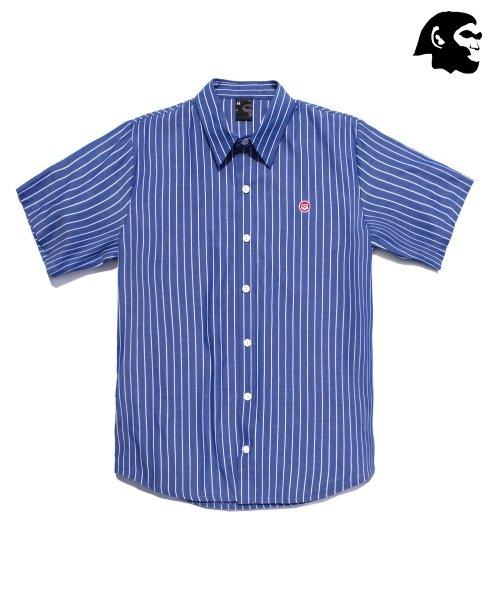 퍼스텝_[퍼스텝] 릴로 줄지 반팔셔츠 파랑 SMSS4005