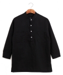 스와인즈() Pure linen pullover shirts black