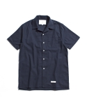 "제로(xero) Hawaiian Linen Solid Shirts ""Navy"""