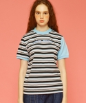 앳 더 모먼트(AT THE MOMENT) [WOMEN]16SU Stripe T-shirts (BLACK)