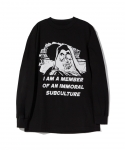 [보웨리] BOW3RY / IMMORAL SUBCULTURE L/S T-SHIRT / BLACK-WHITE-RED