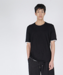 로우 투 로우(RAW TO RAW) double layered short sleeve tee(b&w)