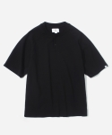 S/S HENLEY NECK T-SHIRT BLACK