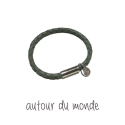 오뜨르 뒤 몽드(AUTOUR DU MONDE) GRAY LEATHER MEN BRACELET