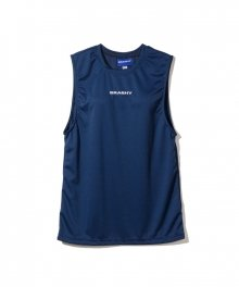BRASHY / MONOGRAM EMBROIDERY SPORTY MUSCLE TEE / NAVY