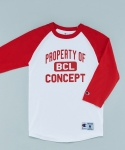 PROPERTY OF BCL RAGLAN T-SHIRTS WHITE/RED