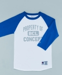 비씨엘컨셉스토어(BCLCONCEPTSTORE) PROPERTY OF BCL RAGLAN T-SHIRTS WHITE/BLUE