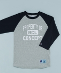 PROPERTY OF BCL RAGLAN T-SHIRTS GREY/NAVY