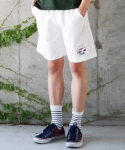코드아이엠(CODE I'M) CLUB LOGO HALF SLACKS WHITE