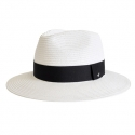 어썸니즈(AWESOME NEEDS) STRAW FEDORA HAT_WHITE_black strap