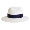 어썸니즈(AWESOME NEEDS) STRAW FEDORA HAT_WHITE_navy strap
