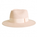 어썸니즈(AWESOME NEEDS) STRAW FEDORA HAT_PINK_light pink strap