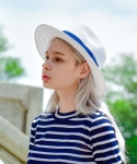 마네스(MANES) Unisex Paris Panama Hat (White/Navy)
