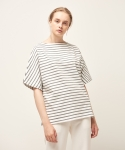 모한(MOHAN) [MOHAN] SHORT SLEEVE STRIPED T-SHIRT CHARCOAL