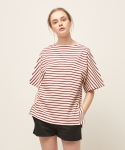 모한(MOHAN) [MOHAN] SHORT SLEEVE STRIPED T-SHIRT RED
