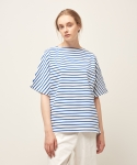 모한(MOHAN) [MOHAN] SHORT SLEEVE STRIPED T-SHIRT BLUE