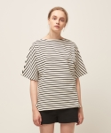 모한(MOHAN) [MOHAN] SHORT SLEEVE STRIPED T-SHIRT BLACK