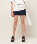 [MOHAN] SIDE SLIT SHORT PANTS NAVY