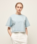 모한(MOHAN) [MOHAN] DENIM SHORT TOP SKY