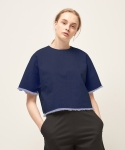모한(MOHAN) [MOHAN] DENIM SHORT TOP INDIGO BLUE