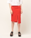 모한(MOHAN) [MOHAN] SLIT UNBALANCE SKIRT ORANGE RED