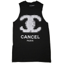유에스에이 머친다이징(U.S.A MERCHANDISING) USAHMMERCHANDISING CANCEL PARIS MUSCLE TEE (BLACK)