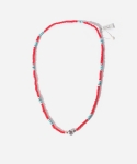 WHITE HEART MIX NECKLACE & BRACELET RED