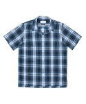SEERSUCKER HAWAIIAN SHIRT_BLUE CHECK
